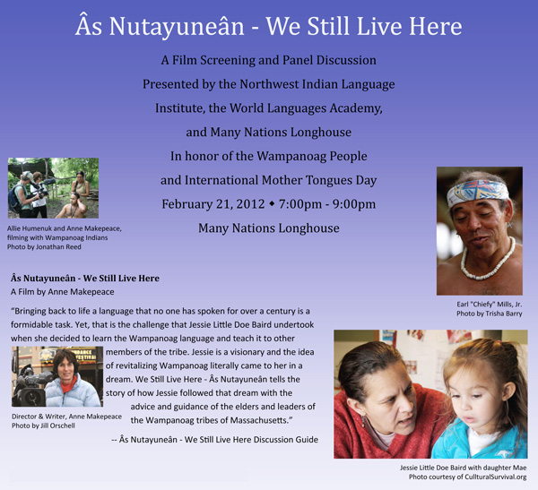 In honor of the Wampanoag People & International Mother Tongues Day