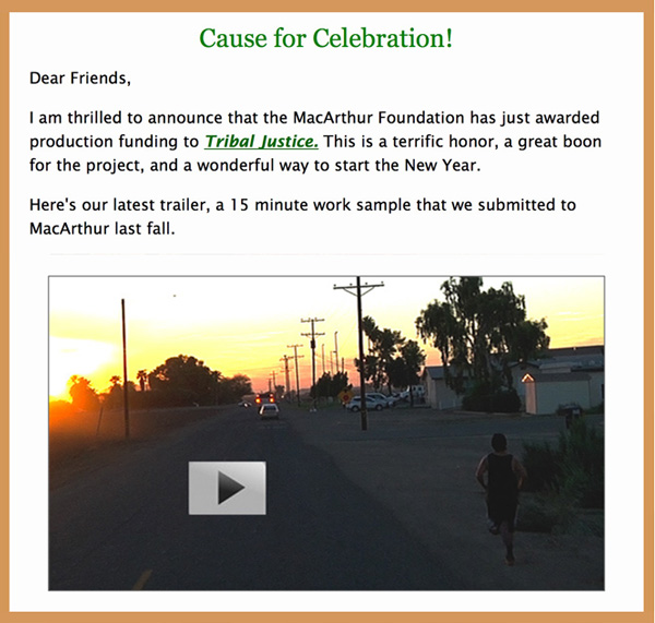 Makepeace Productions Newsletter, January 2016, A Cause for Celebration
