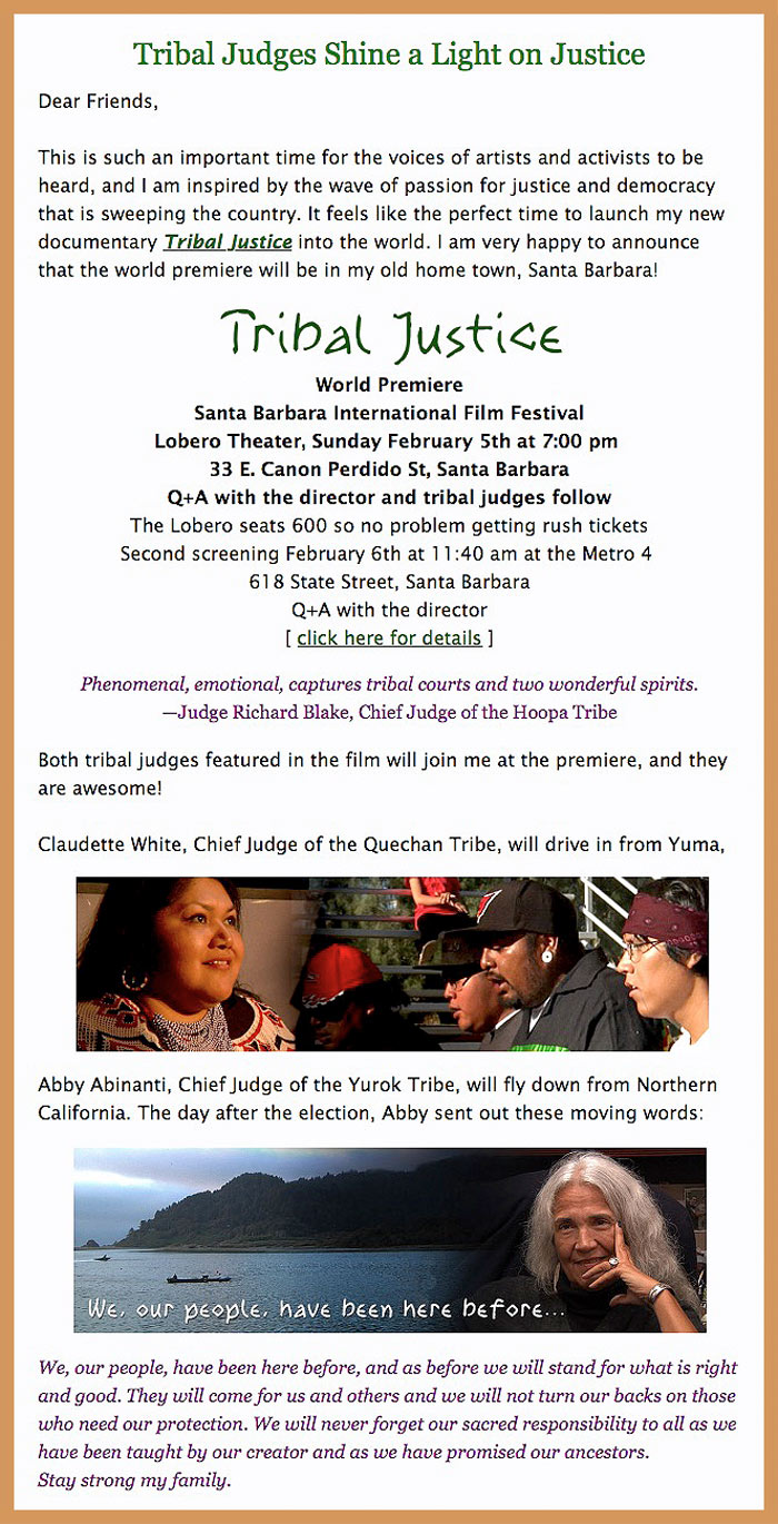 Tribal Justice world premiere